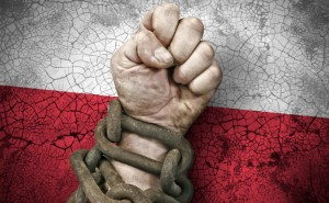 Independence: the hand, fist in chains and the flag of Poland